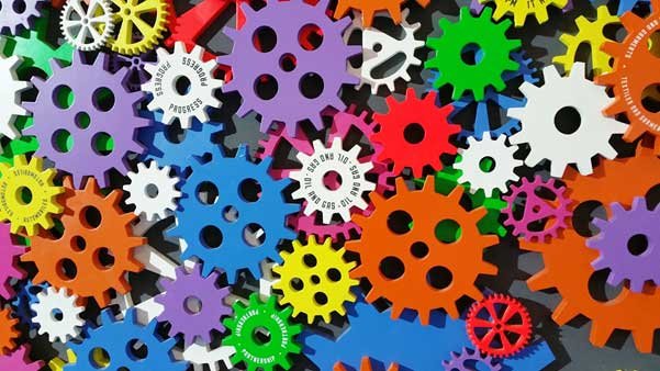 stock image of multicolored gears