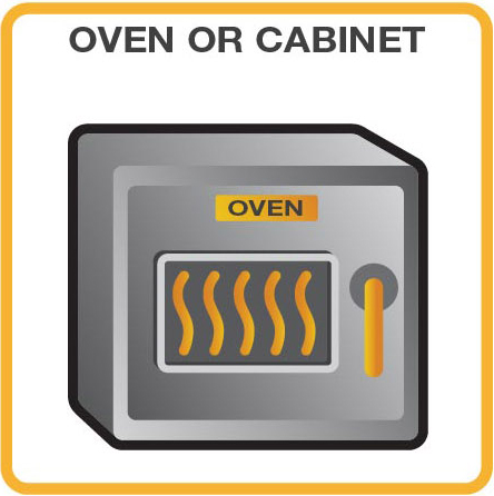 heating an oven or cabinet